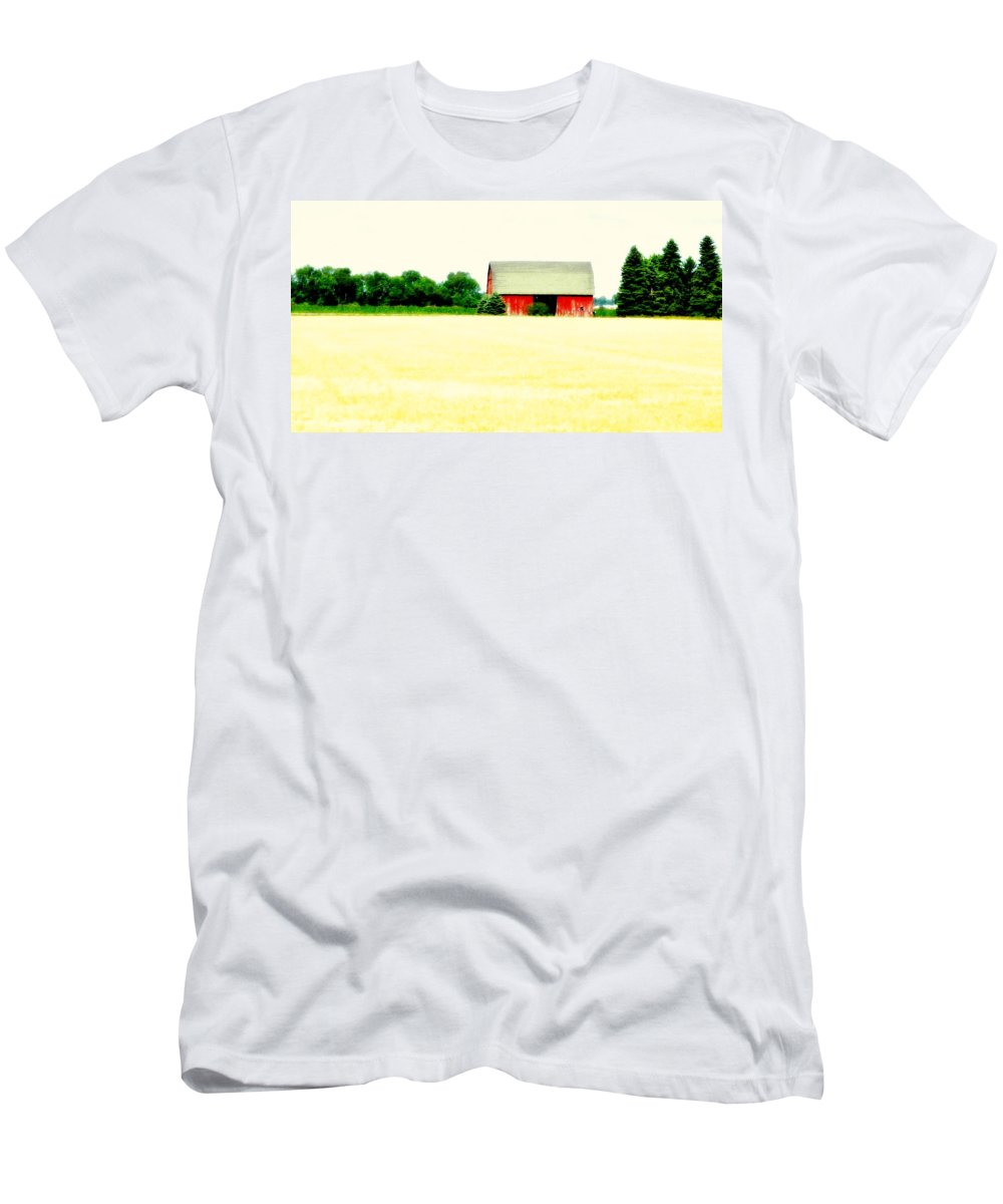 Red Men's T-Shirt (Athletic Fit) featuring the photograph Red Barn by Marysue Ryan
