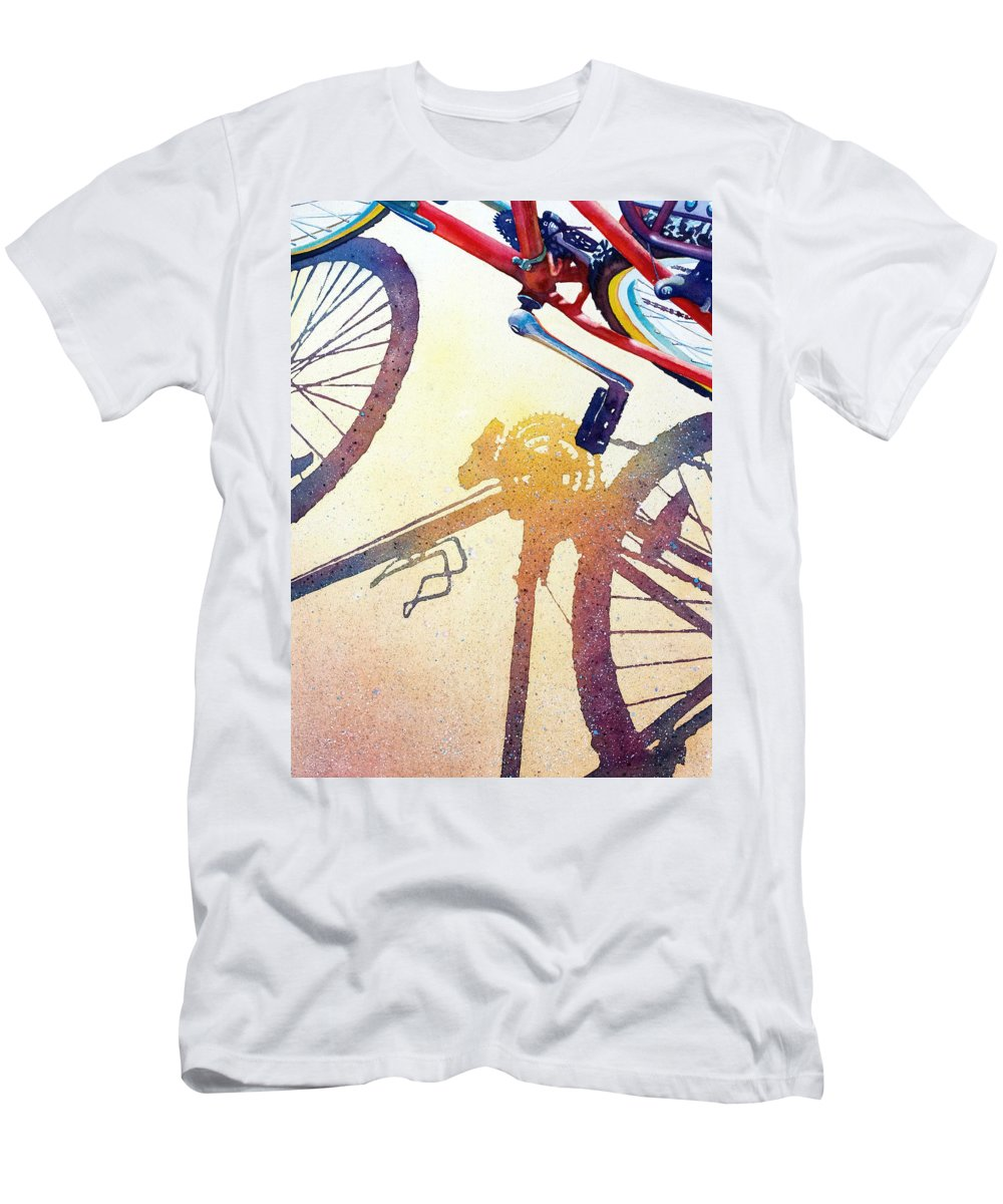 Bicycle Men's T-Shirt (Athletic Fit) featuring the painting Red Bike by Greg and Linda Halom