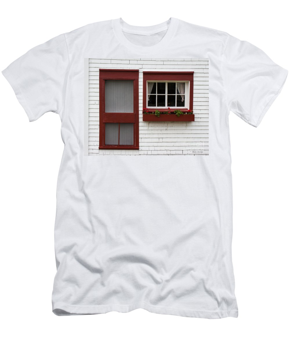 Red Men's T-Shirt (Athletic Fit) featuring the photograph Red Door Red Window by Barbara McMahon