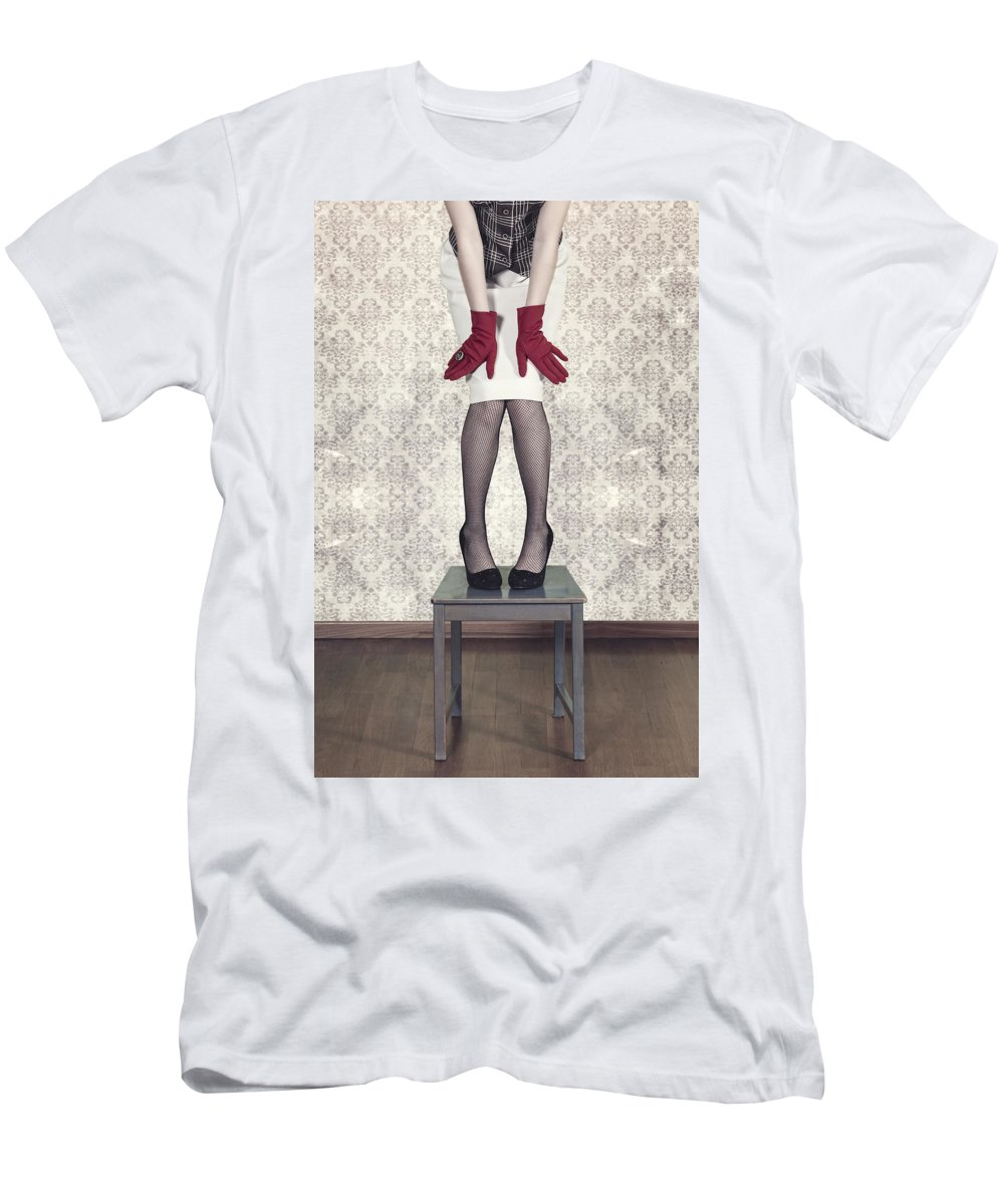Woman Men's T-Shirt (Athletic Fit) featuring the photograph Red Gloves by Joana Kruse