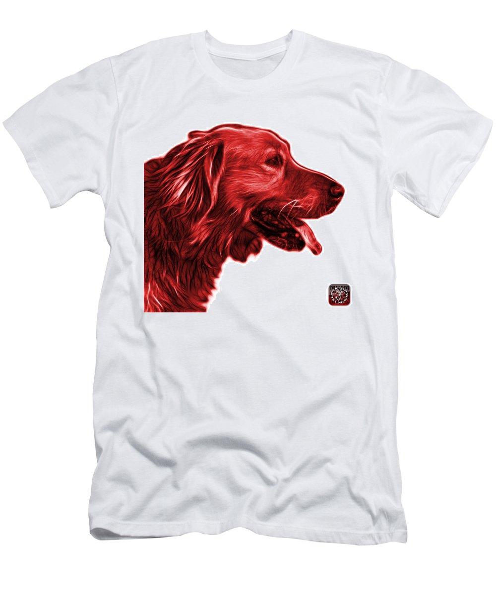 Golden Retriever Men's T-Shirt (Athletic Fit) featuring the digital art Red Golden Retriever - 4047 Fs by James Ahn