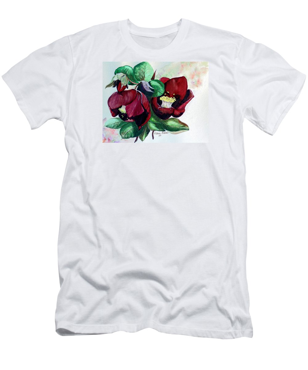 Red Helleborous Painting Flower Painting  Botanical Painting Watercolor Painting Original Painting Floral Painting Flower Painting Red Painting  Greeting Painting Men's T-Shirt (Athletic Fit) featuring the painting Red Helleborous by Karin Dawn Kelshall- Best