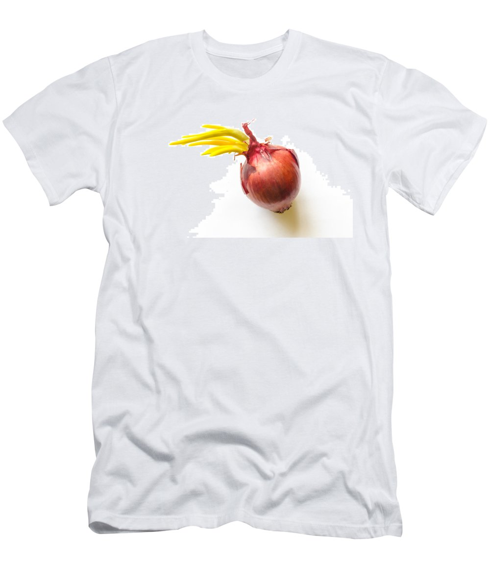 Cuisine Men's T-Shirt (Athletic Fit) featuring the photograph Red Onion With Sprout by Alain De Maximy