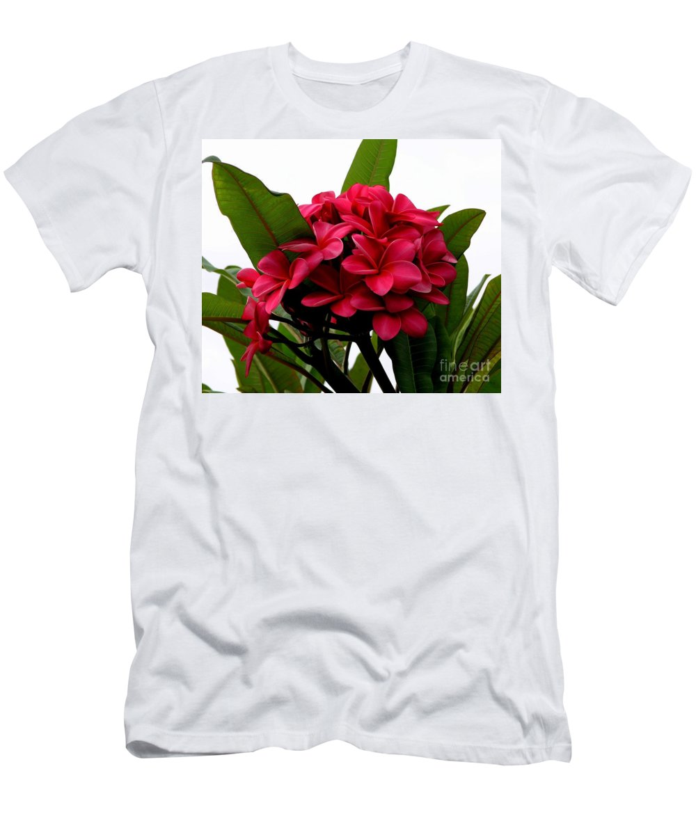 Plumeria Men's T-Shirt (Athletic Fit) featuring the photograph Red Plumeria by Mary Deal