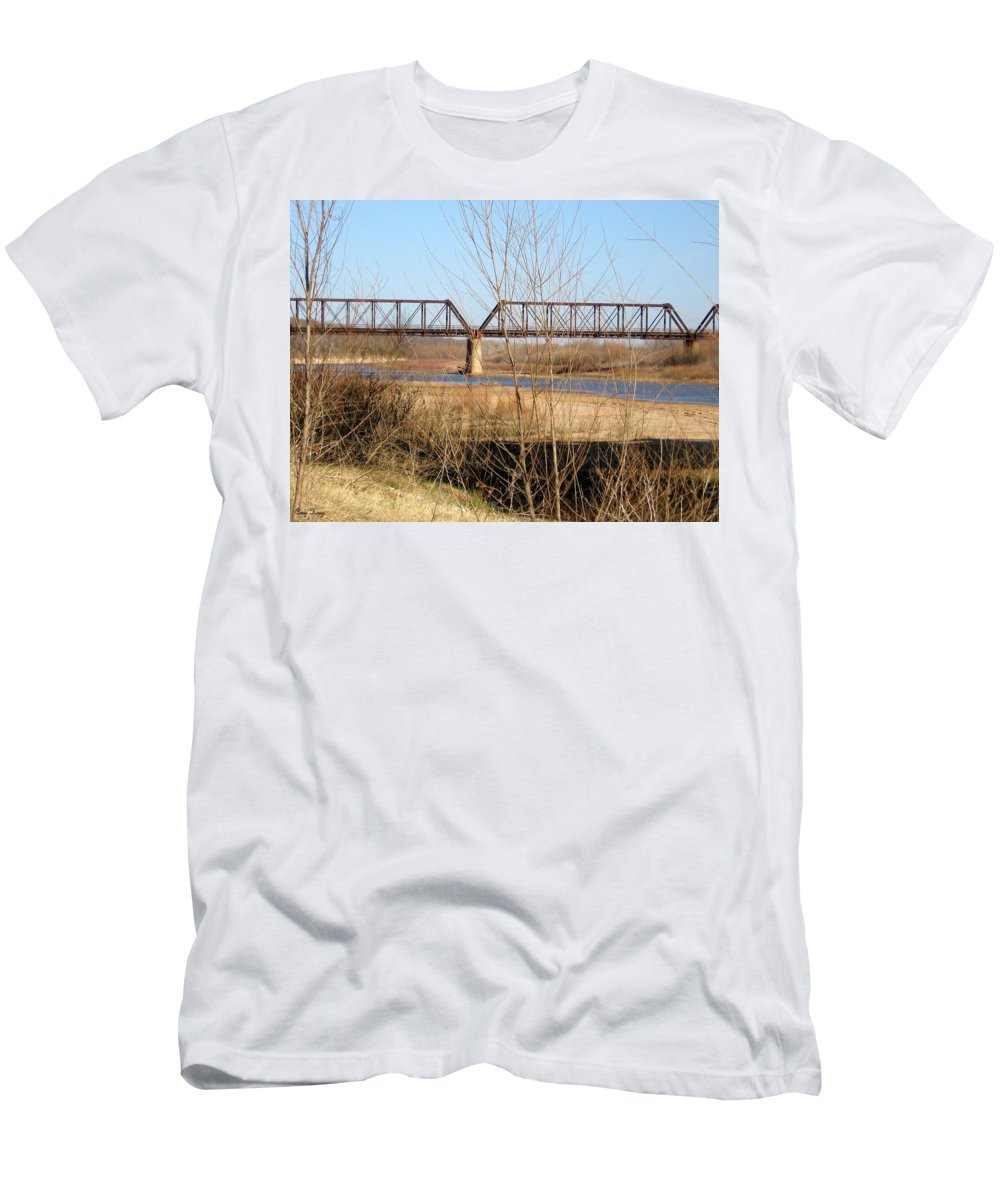 Red River I 35 Train Trussell Men's T-Shirt (Athletic Fit) featuring the photograph Red River Train Trussell by Amy Hosp