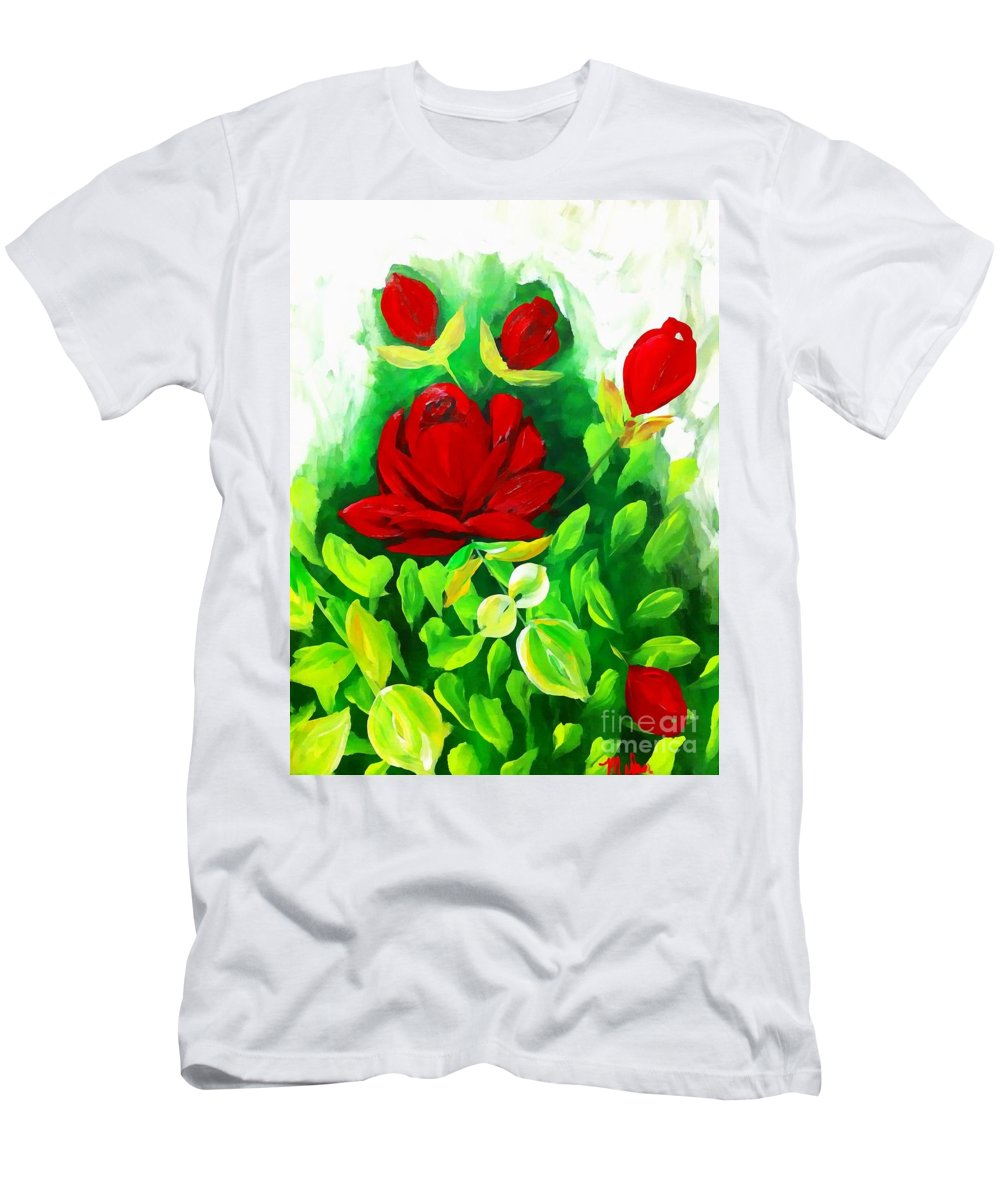 Red Men's T-Shirt (Athletic Fit) featuring the painting Red Roses From The Garden Impression by Saundra Myles