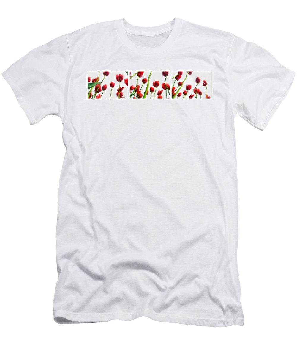 Hollander Men's T-Shirt (Athletic Fit) featuring the photograph Red Tulips From The Bottom Up Triptych by Michelle Calkins