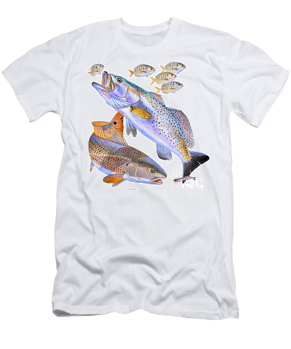 Trout Men's T-Shirt (Athletic Fit) featuring the painting Redfish Trout by Carey Chen