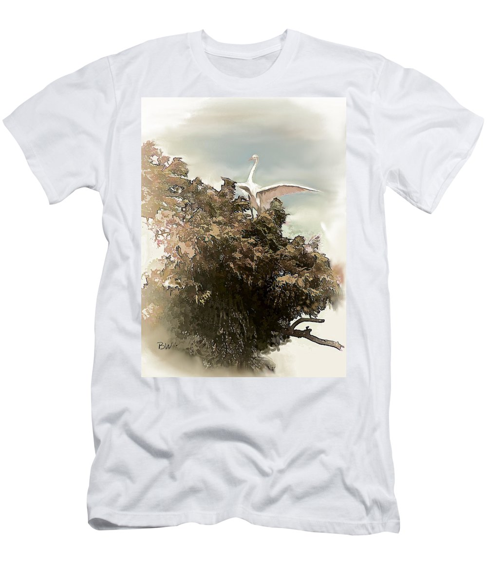 Crane Men's T-Shirt (Athletic Fit) featuring the photograph Reelfoot Lake White Crane by Bonnie Willis