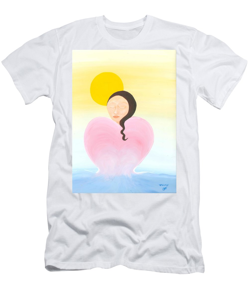 Melting Heart Men's T-Shirt (Athletic Fit) featuring the painting Reflection by Catt Kyriacou
