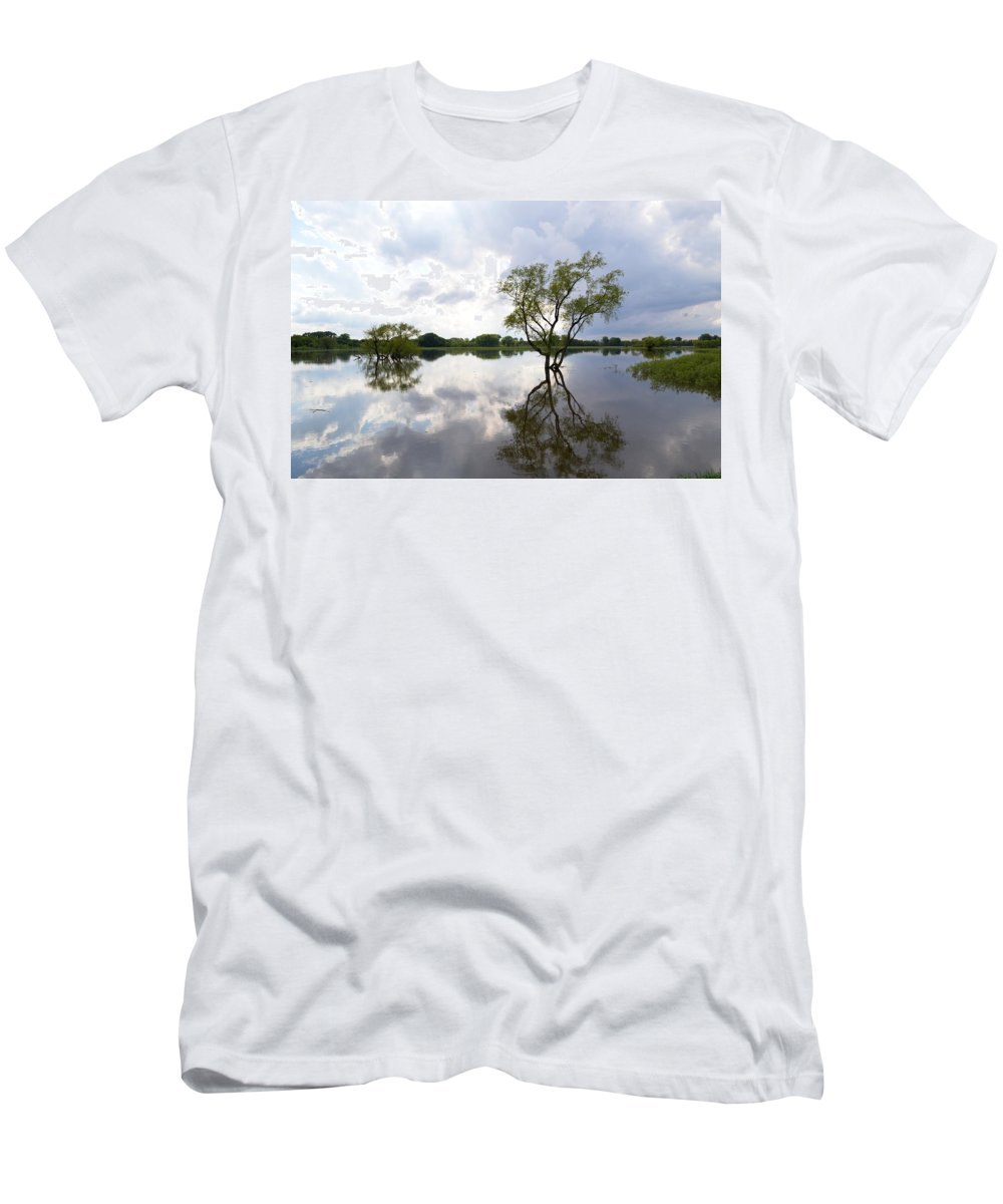 Reflective Men's T-Shirt (Athletic Fit) featuring the photograph Reflective Flood Waters by Bonfire Photography