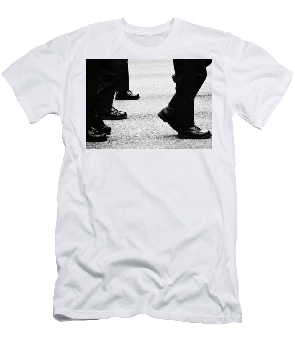 Street Photography Men's T-Shirt (Athletic Fit) featuring the photograph Reluctant March by The Artist Project