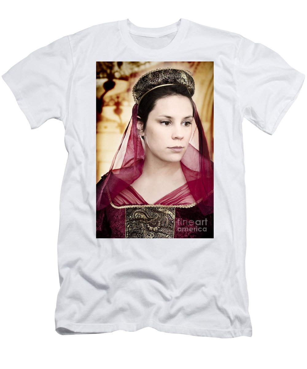 Caucasian; Beautiful; Clothing; Costume; Dress; Elegant; Female; Lady; Woman; Gown; Nobility; Old; Ornate; Period Costume; Renaissance; Vintage; Decoration; Formal; Royal; Royalty; Marble; Headdress; Brunette; Looking Away; Pale Men's T-Shirt (Athletic Fit) featuring the photograph Remembering by Margie Hurwich