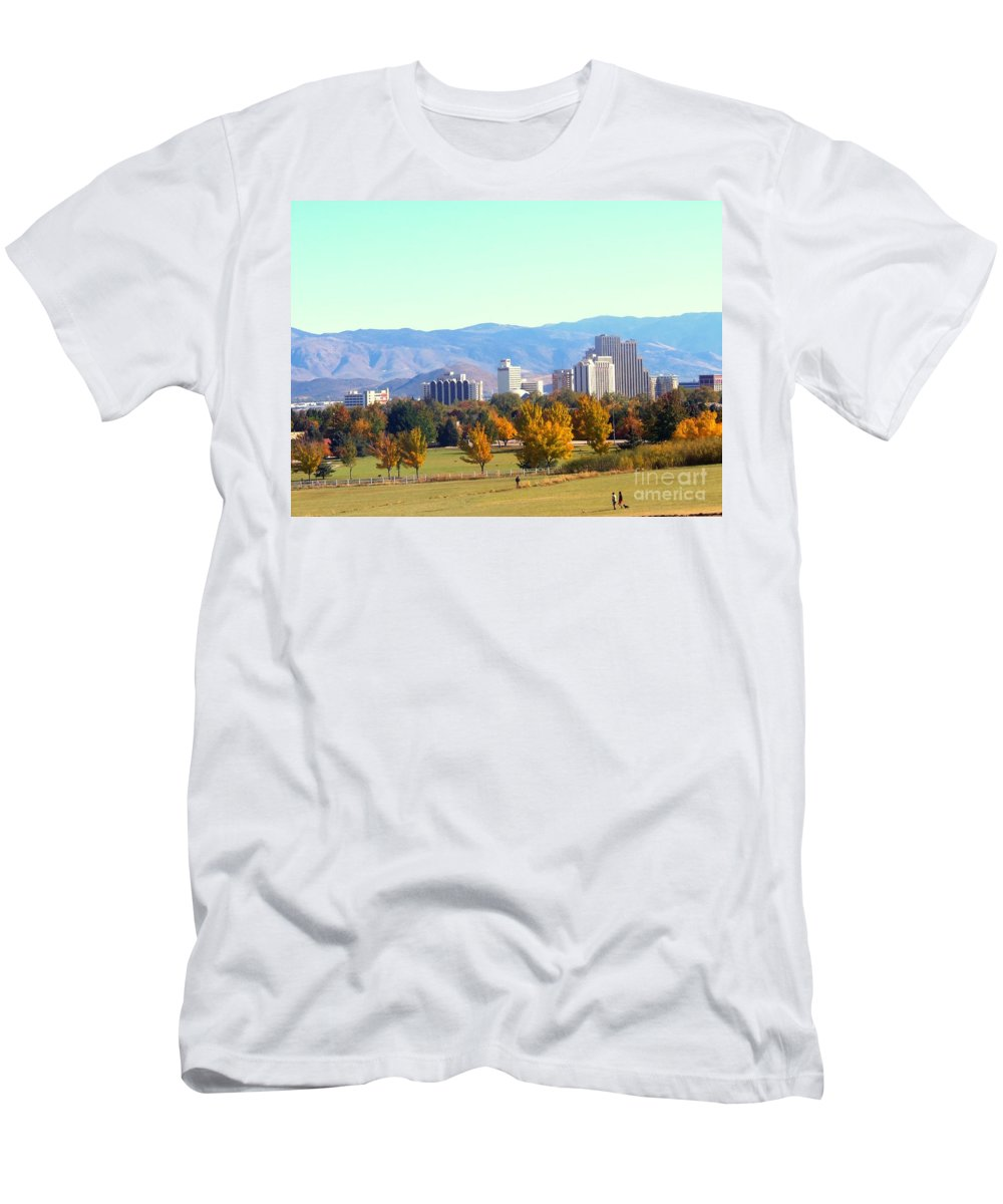 Acrylic Prints Men's T-Shirt (Athletic Fit) featuring the photograph Reno Skyline N Park by Bobbee Rickard