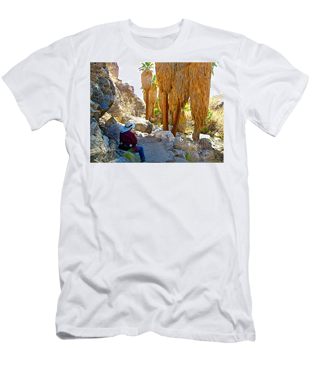 Rest Stop In Andreas Canyon In Indian Canyons Men's T-Shirt (Athletic Fit) featuring the photograph Rest Stop In Andreas Canyon Trail In Indian Canyons-ca by Ruth Hager