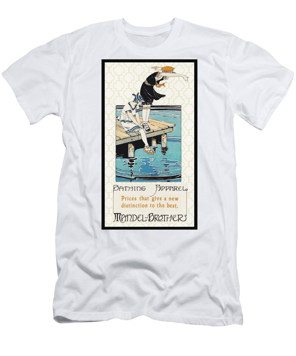 Jean Plout Men's T-Shirt (Athletic Fit) featuring the digital art Retro Bathing Apparel Sign by Jean Plout