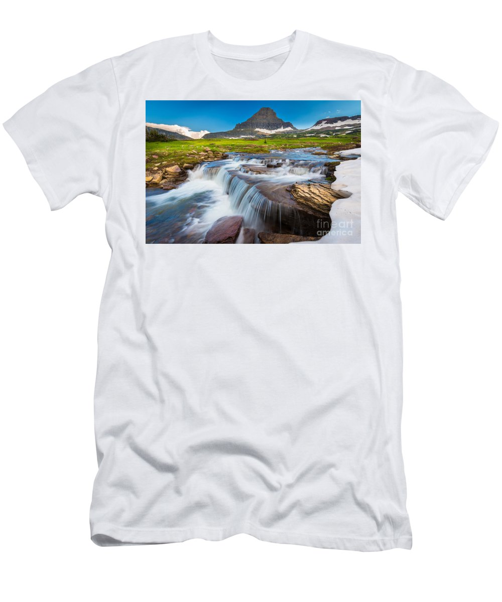 America Men's T-Shirt (Athletic Fit) featuring the photograph Reynolds Creek Falls by Inge Johnsson