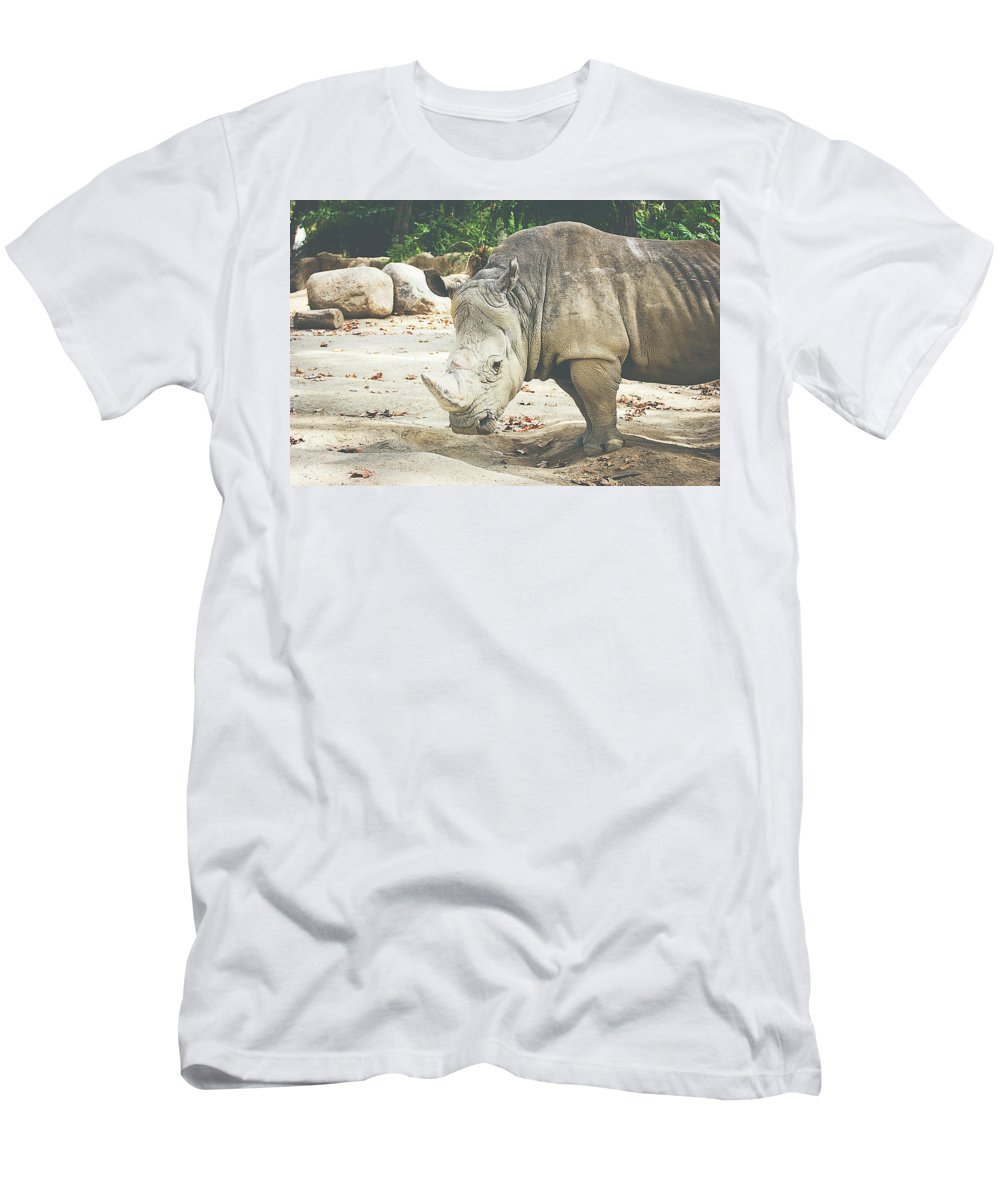 Rhinoceros Men's T-Shirt (Athletic Fit) featuring the photograph Rhino by Pati Photography