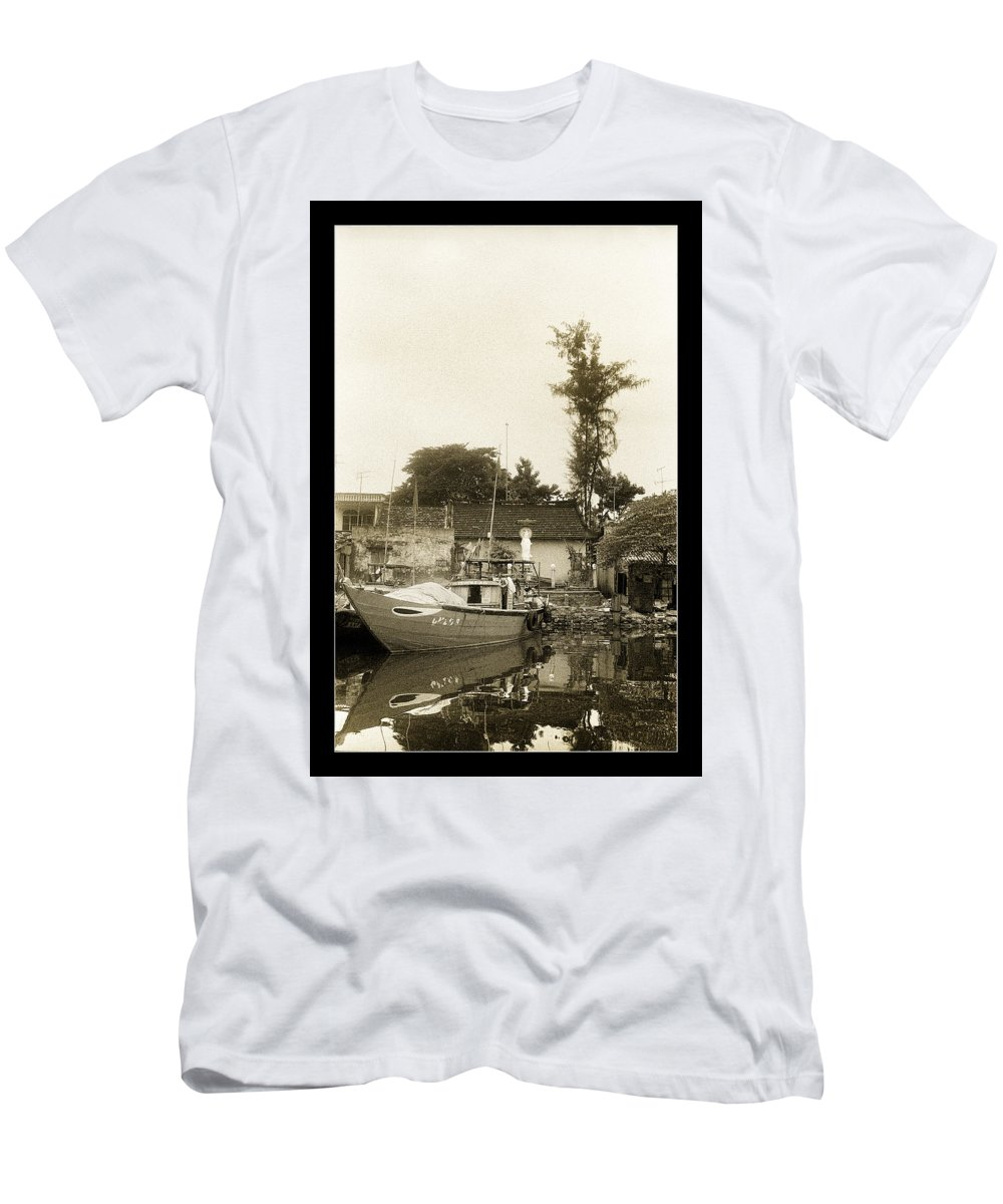 Fishing Boat Men's T-Shirt (Athletic Fit) featuring the photograph River Fishing Boat In Hoi An by Weston Westmoreland
