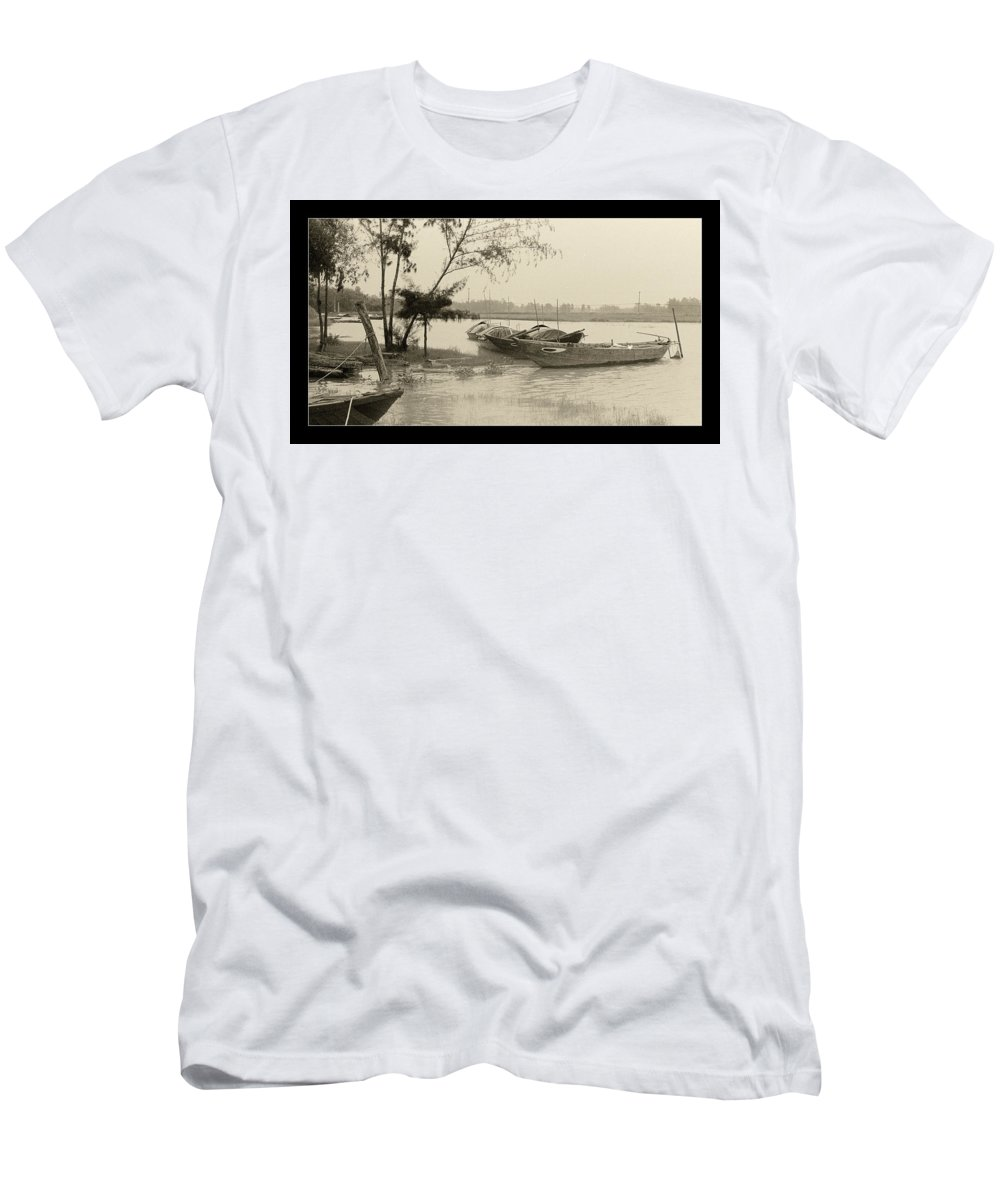 Fishing Boat Men's T-Shirt (Athletic Fit) featuring the photograph River Fishing Boats In Hoi An by Weston Westmoreland
