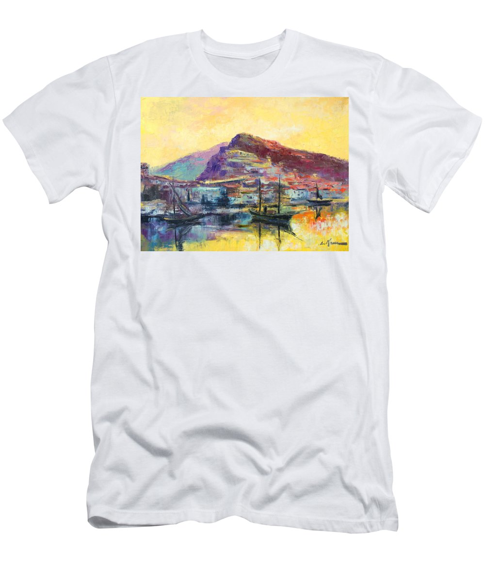 Italy Men's T-Shirt (Athletic Fit) featuring the painting Riviera Di Ponente by Luke Karcz