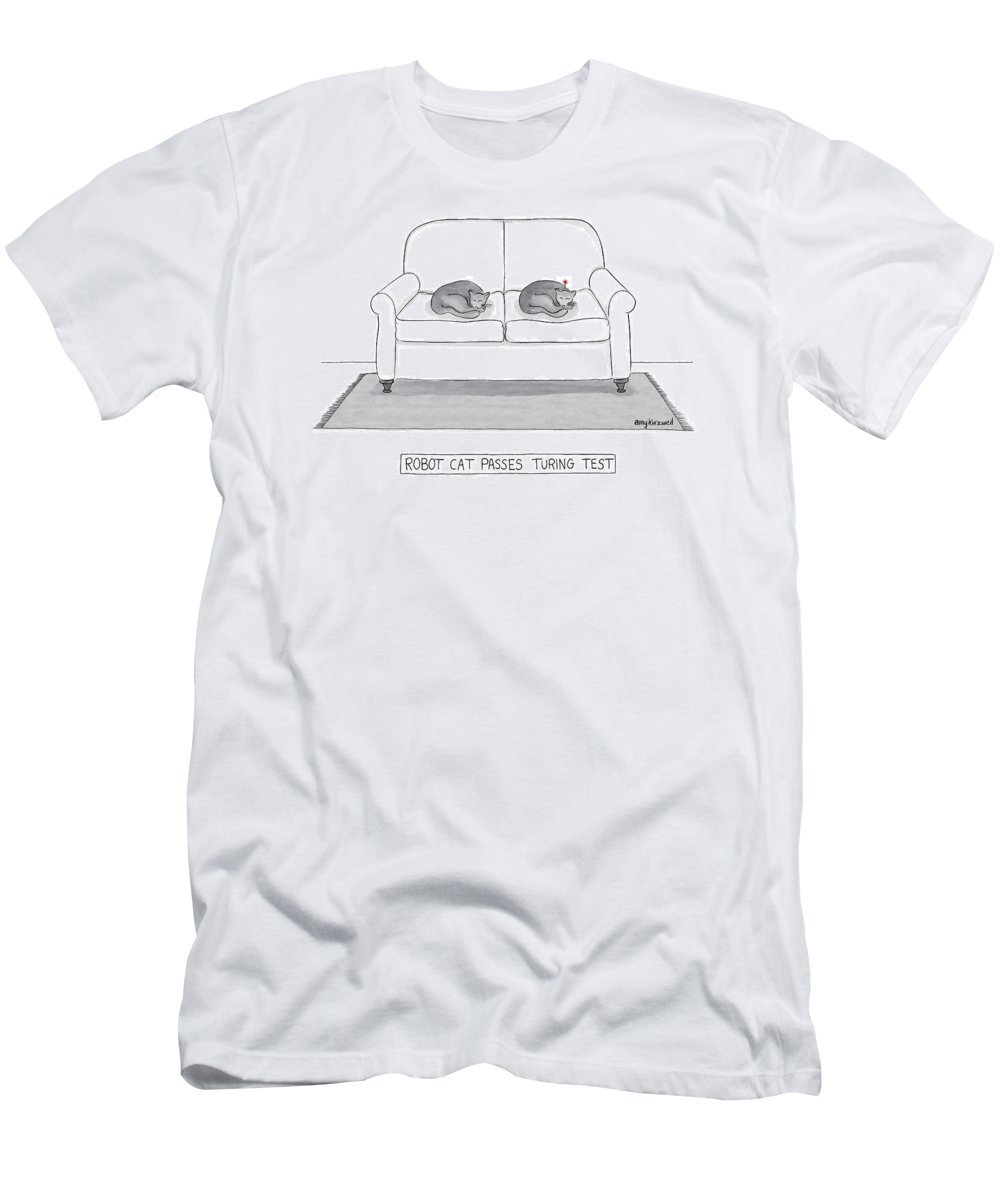 Cat T-Shirt featuring the drawing Robot Cat Passes Turing Test by Amy Kurzweil