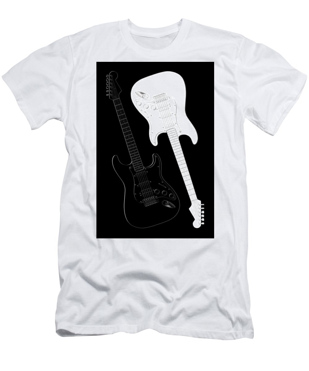 Rock And Roll Men's T-Shirt (Athletic Fit) featuring the digital art Rock And Roll Yin Yang by Mike McGlothlen