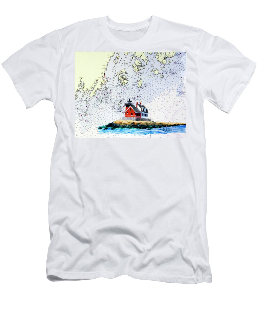 Rockland Men's T-Shirt (Athletic Fit) featuring the painting Rockland Breakwater Light by Mike Robles