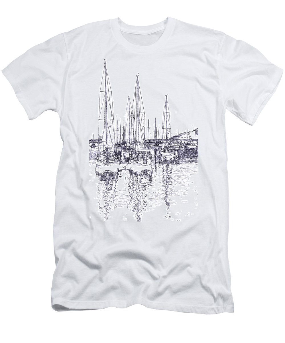 Sailboats Men's T-Shirt (Athletic Fit) featuring the photograph Rockport Sailboats - Photo Shetch by Ray Summers Photography