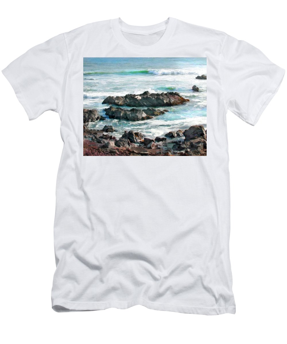 Ocean Men's T-Shirt (Athletic Fit) featuring the painting Rocky Ocean Shoreline One by Elaine Plesser