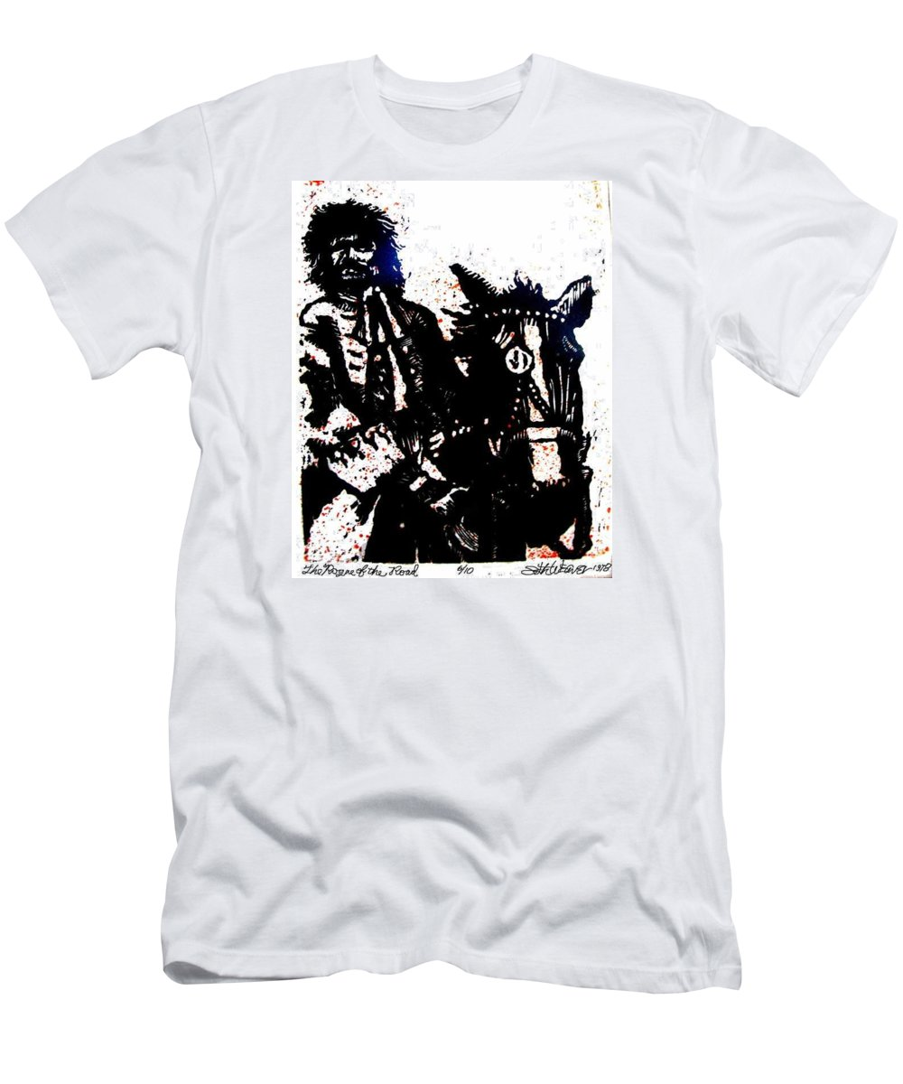 English Highwayman Men's T-Shirt (Athletic Fit) featuring the mixed media Rogue Of The Road by Seth Weaver