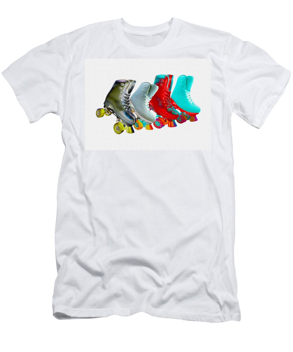 Skates Men's T-Shirt (Athletic Fit) featuring the mixed media Roller Skates by P Donovan