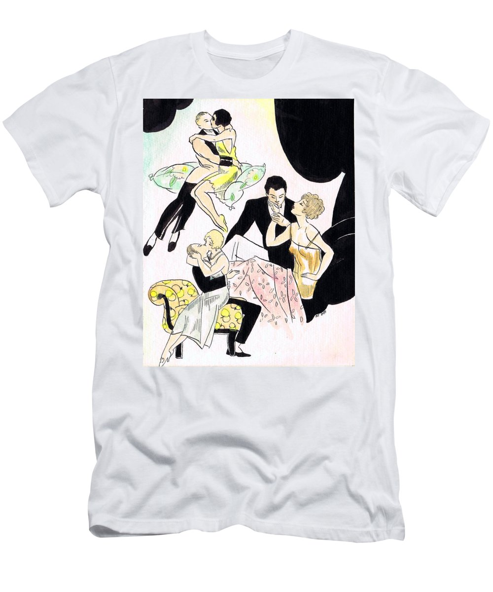 Nostalgia Men's T-Shirt (Athletic Fit) featuring the drawing Romantic Couples by Mel Thompson