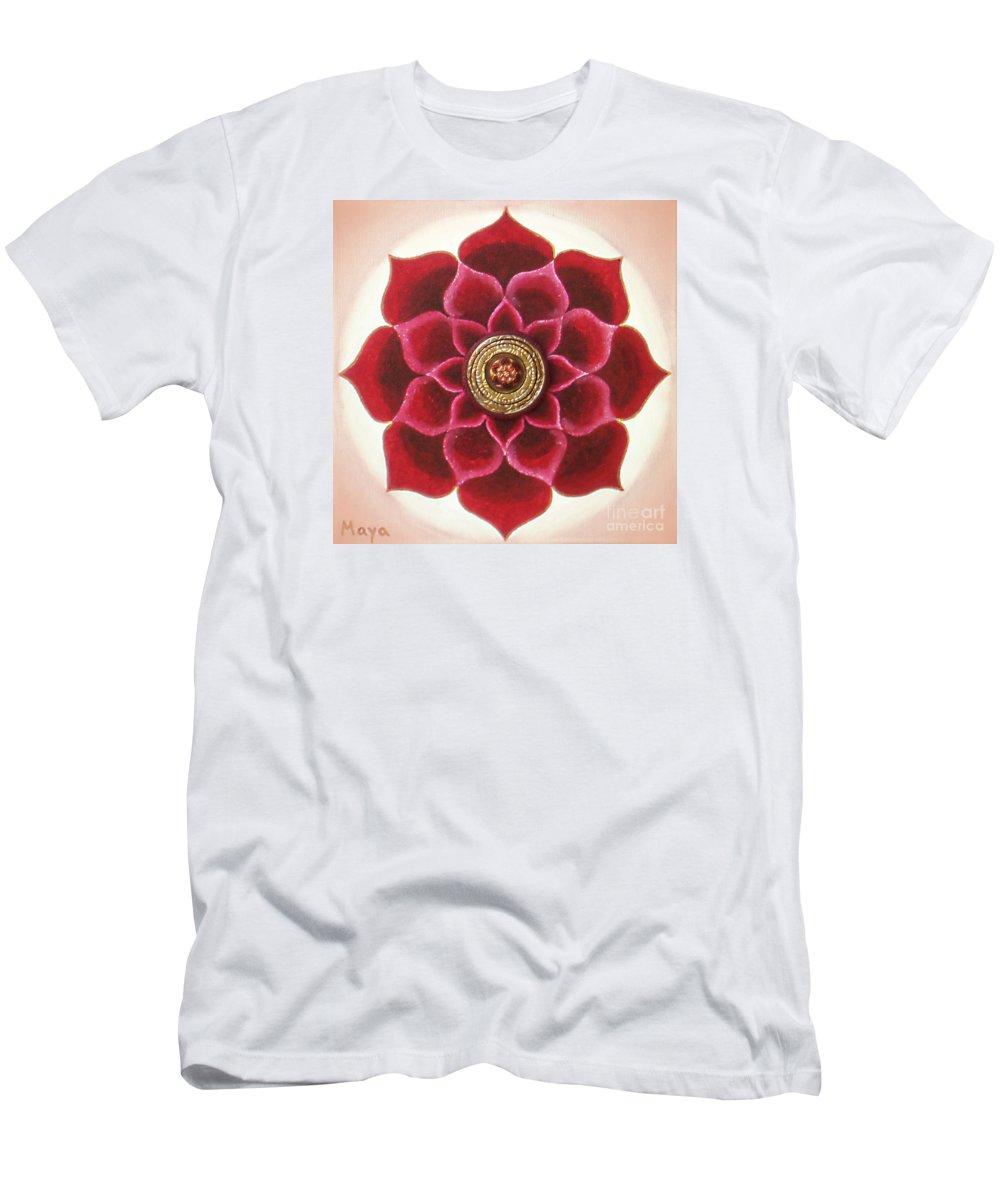 Mandala Paintings Men's T-Shirt (Athletic Fit) featuring the painting Rose Mandala by Maya B