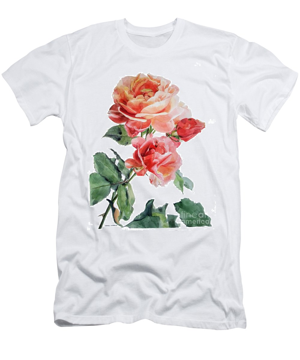 Watercolor Men's T-Shirt (Athletic Fit) featuring the painting Watercolor Of Red Roses On A Stem I Call Rose Maurice Corens by Greta Corens
