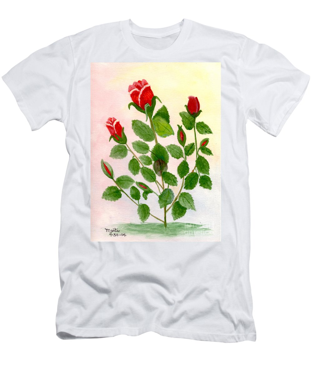 Watercolor Men's T-Shirt (Athletic Fit) featuring the painting Roses Are Red by Flamingo Graphix John Ellis