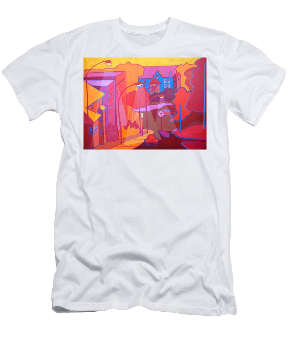 Cityscape T-Shirt featuring the painting Roslindale Never Looked so Red by Debra Bretton Robinson