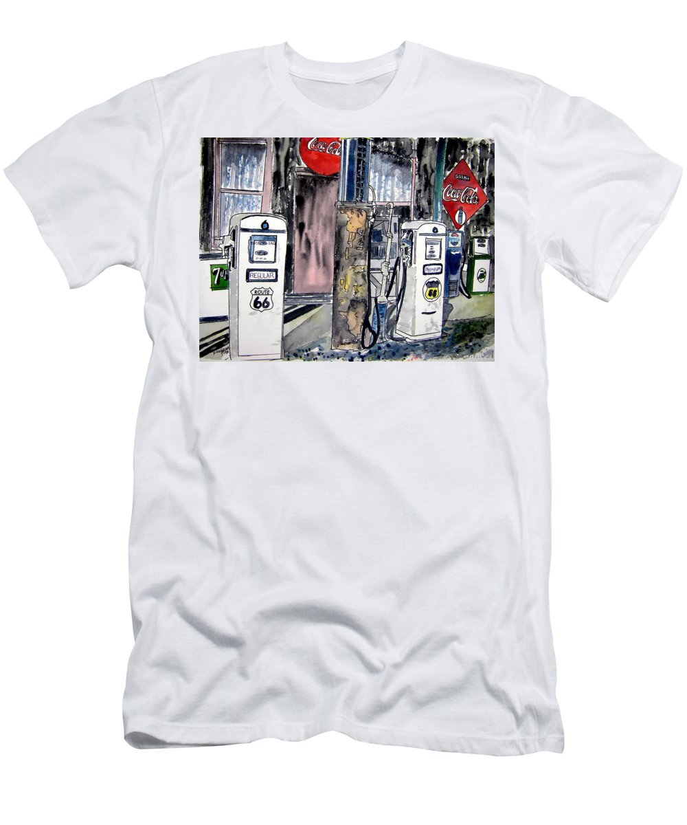 Watercolor Men's T-Shirt (Athletic Fit) featuring the painting Route 66 Gas Station by Derek Mccrea