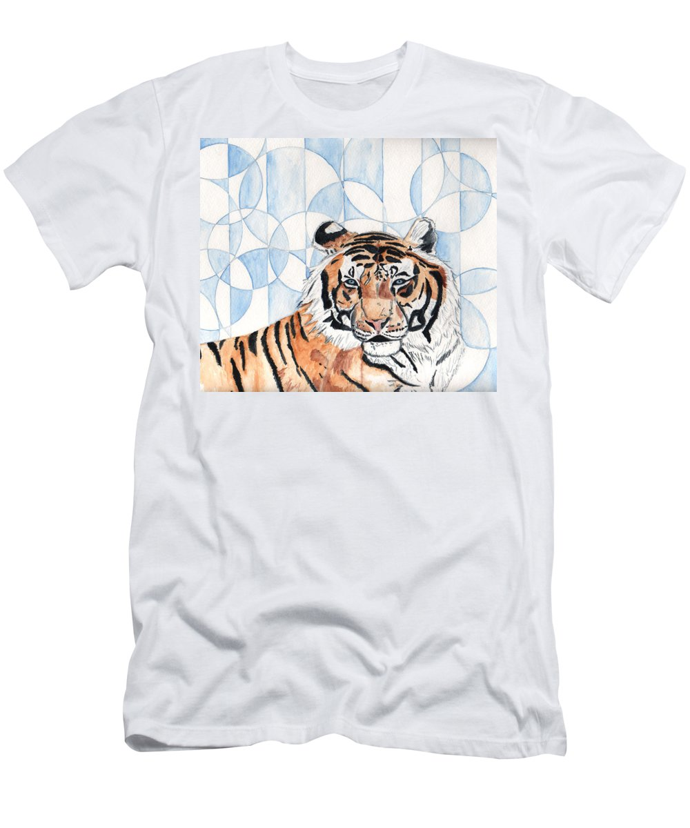 Tiger Men's T-Shirt (Athletic Fit) featuring the painting Royal Mysticism by Crystal Hubbard