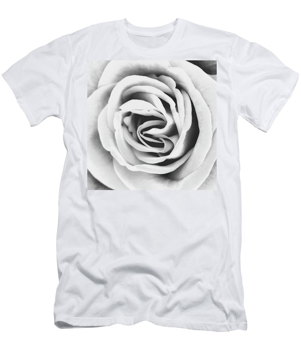 Roses Men's T-Shirt (Athletic Fit) featuring the photograph Rubellite Rose Bw Palm Springs by William Dey