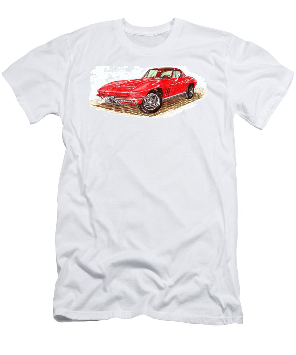 Red 1966 Corvette Stingray Fastback Men's T-Shirt (Athletic Fit) featuring the drawing Ruby Red 1966 Corvette Stingray Fastback by Jack Pumphrey