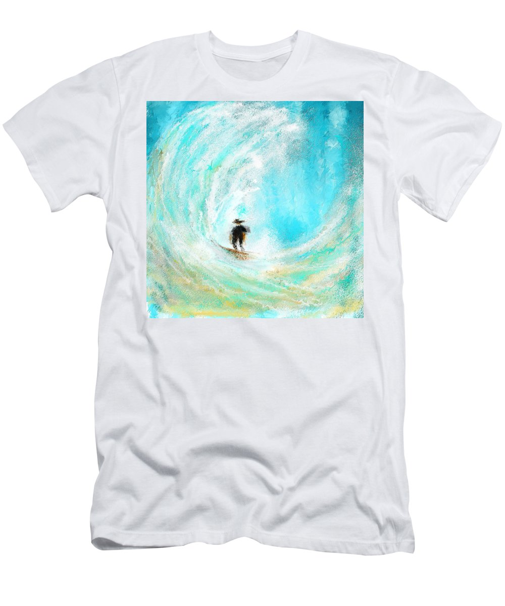 Surfing Art Men's T-Shirt (Athletic Fit) featuring the painting Rushing Beauty- Surfing Art by Lourry Legarde