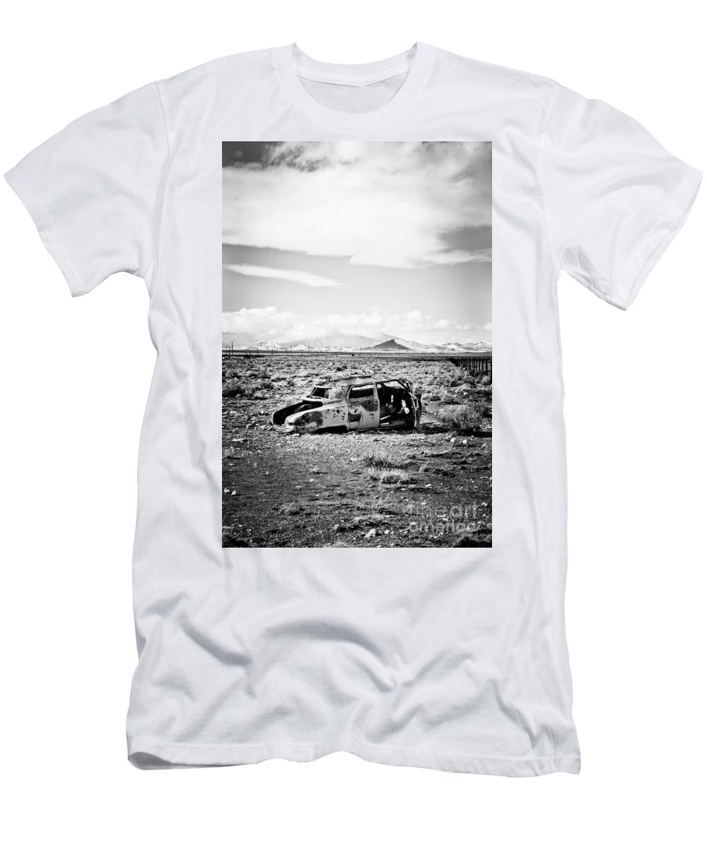 Old Car Men's T-Shirt (Athletic Fit) featuring the photograph Rusty Car In Snow 1 by Scott Sawyer