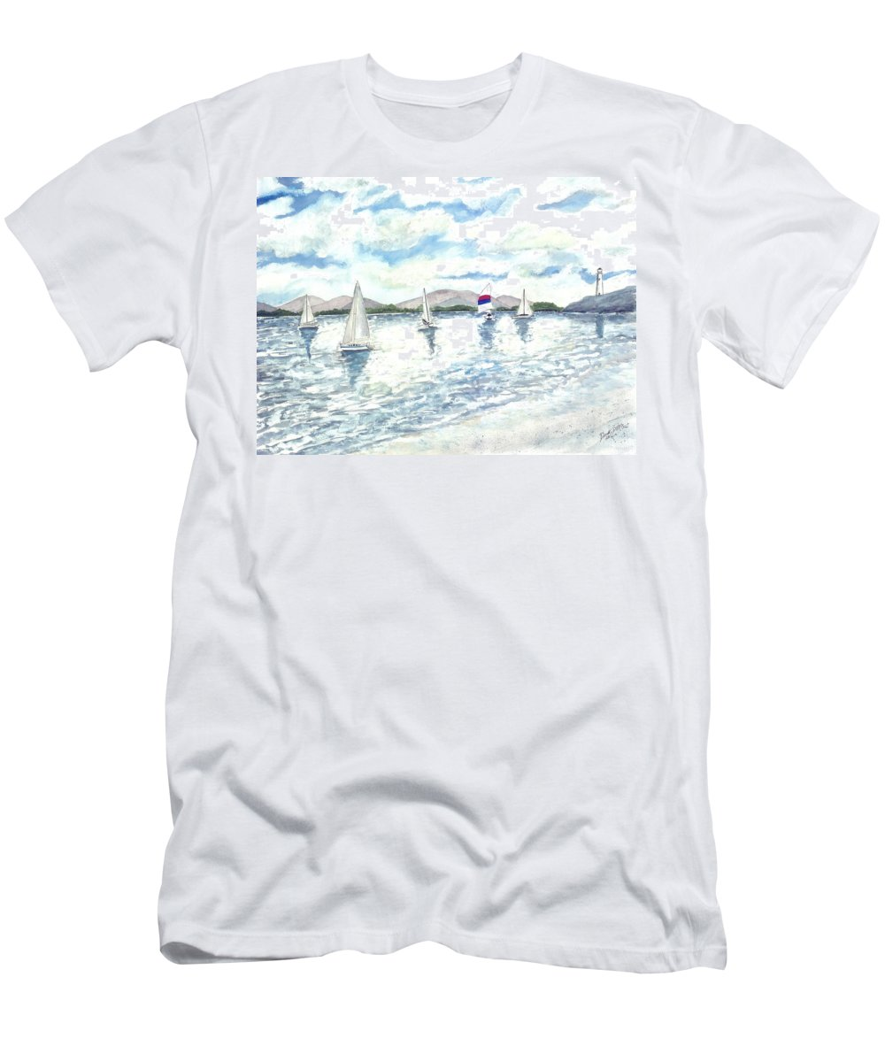 Sailboats T-Shirt featuring the painting Sailboats by Derek Mccrea