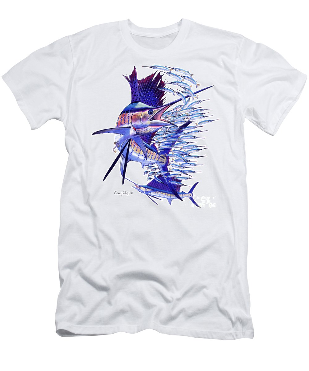 Sailfish Men's T-Shirt (Athletic Fit) featuring the painting Sailfish Ballyhoo by Carey Chen