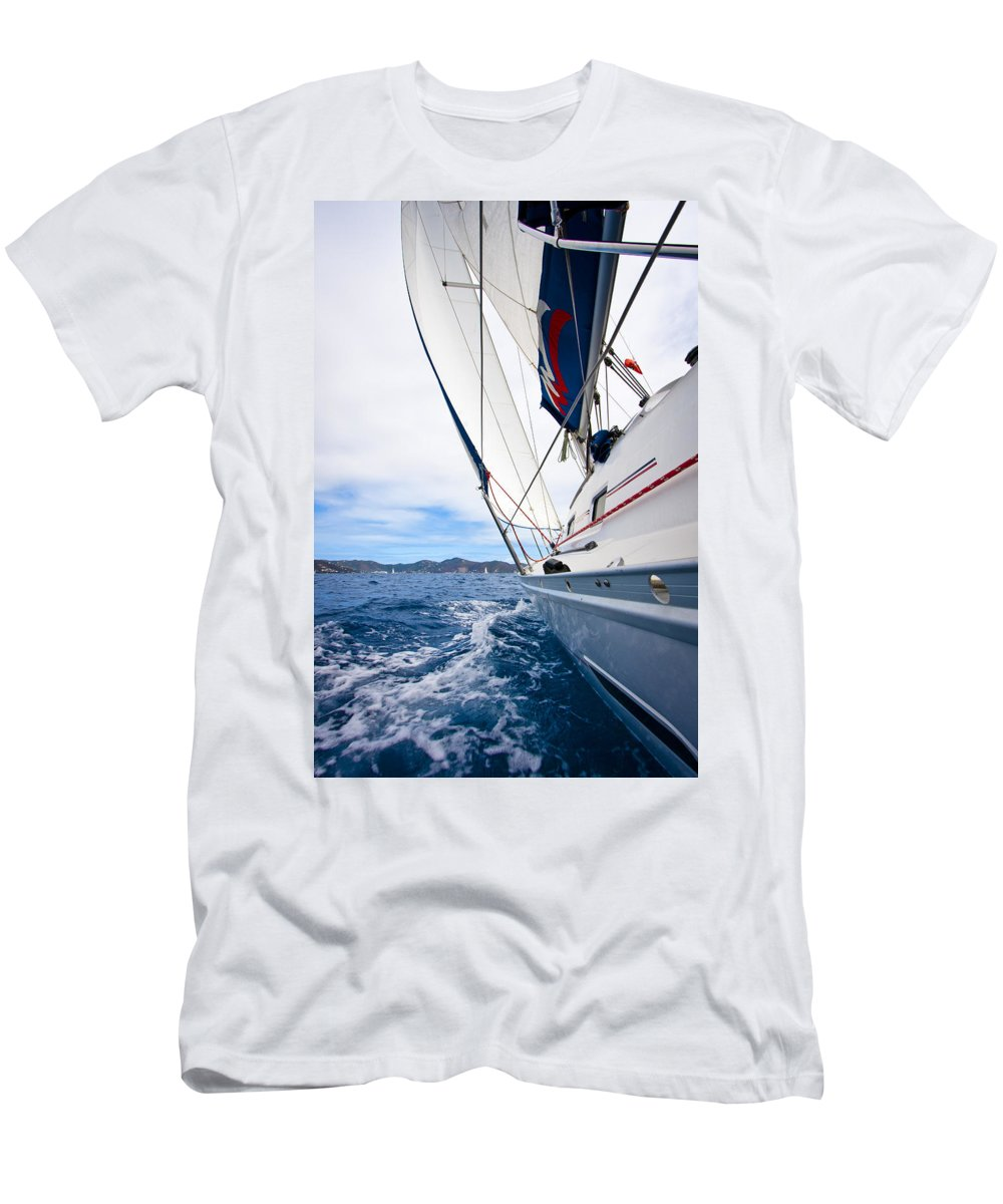 3scape Men's T-Shirt (Athletic Fit) featuring the photograph Sailing Bvi by Adam Romanowicz