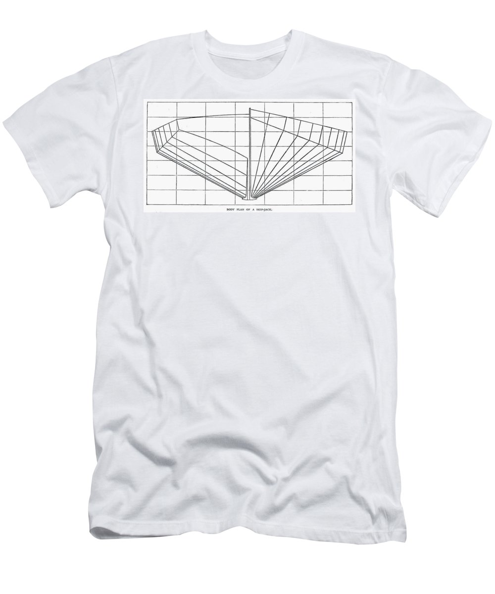 1882 Men's T-Shirt (Athletic Fit) featuring the photograph Sailing Ship: Plan, 1882 by Granger