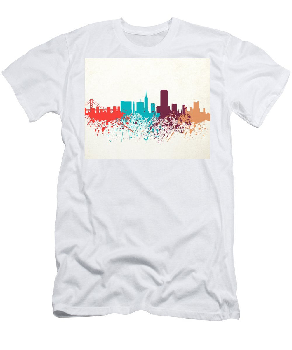 Amaerican Men's T-Shirt (Athletic Fit) featuring the digital art San Francisco Skyline Paint by World Art Prints And Designs