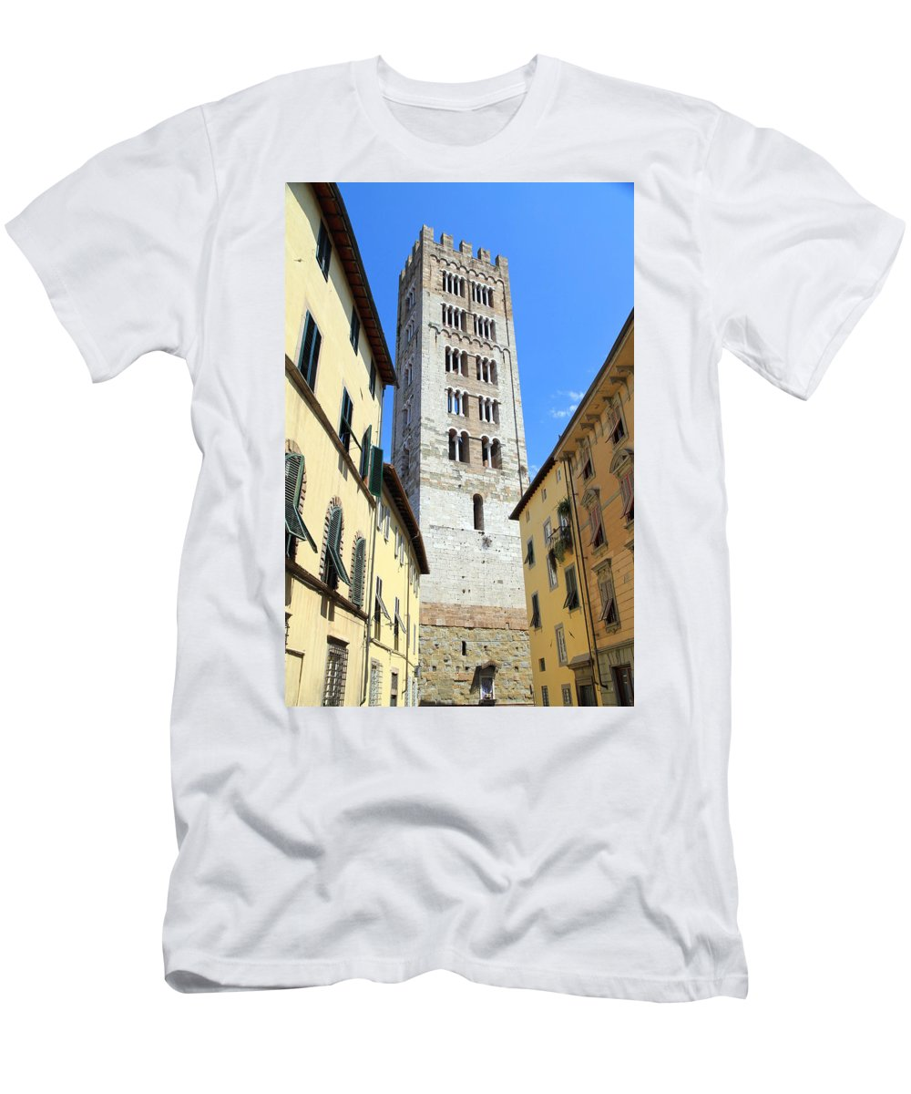 Lucca Men's T-Shirt (Athletic Fit) featuring the photograph San Frediano Tower by Valentino Visentini