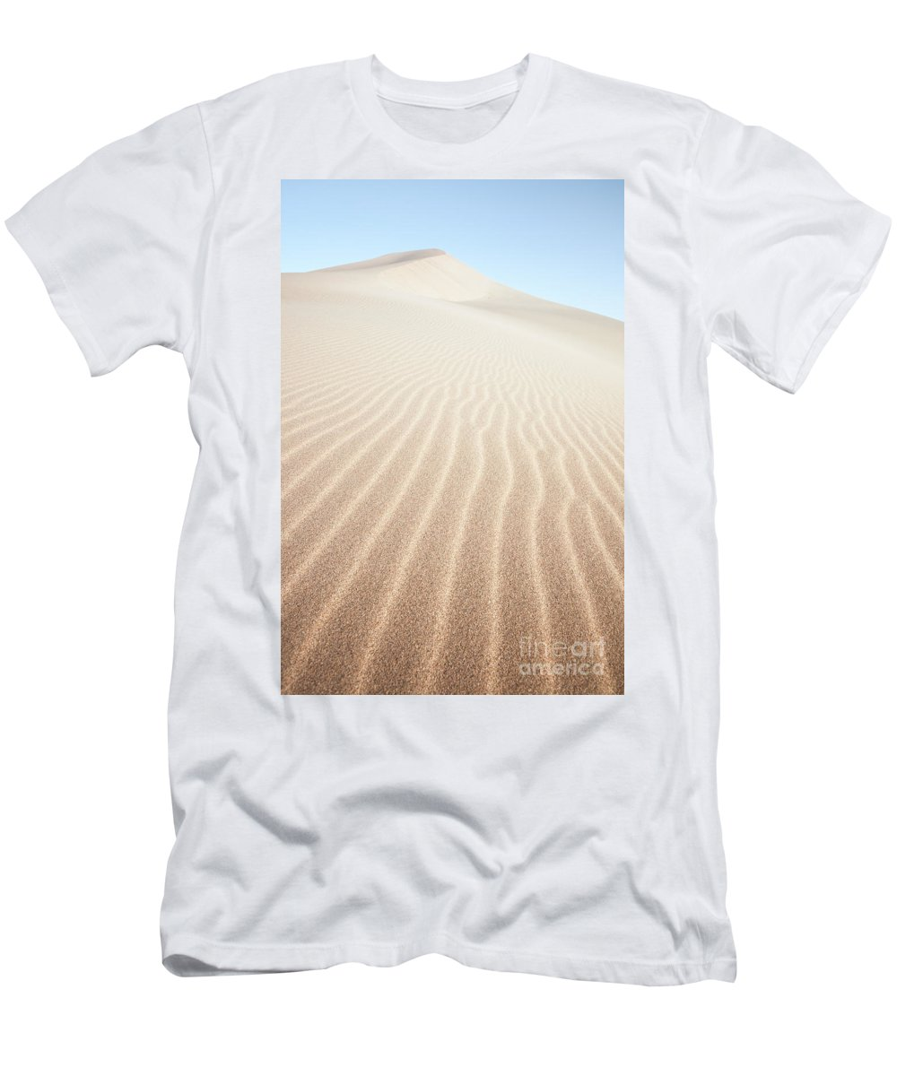 China Men's T-Shirt (Athletic Fit) featuring the photograph Sand Dunes In The Desert At Sunrise Dunhuang China by Matteo Colombo